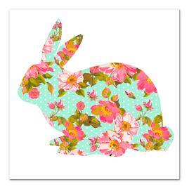Bright Floral Bunny Canvas Sitting