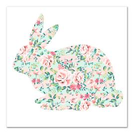 Pastel Floral Bunny Canvas Sitting