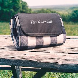 Personalized Plaid Tailgate Picnic Blanket |