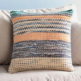 Magnolia Home Orange and Blue Square Pillow