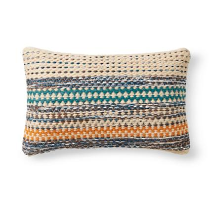 magnolia home by joanna gaines orange and blue lumbar pillow