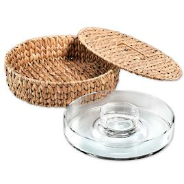 Seagrass Chip and Dip Tray with Cover