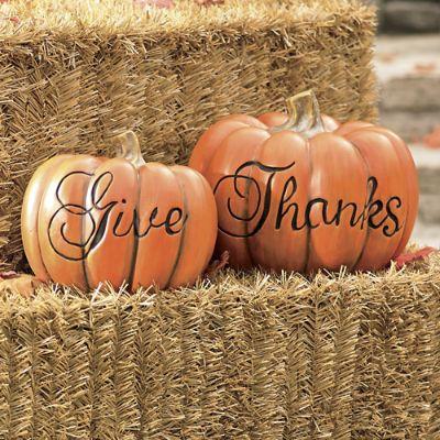 Set Of Two Quot Give Thanks Quot Pumpkins Grandin Road