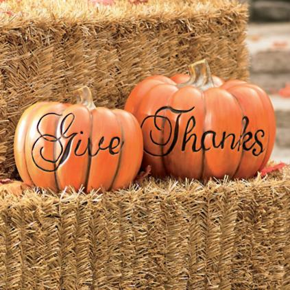set of two give thanks pumpkins - Grandin Road Catalog