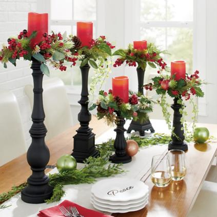 Set Of Five Winter Berry Candle Rings Grandin Road