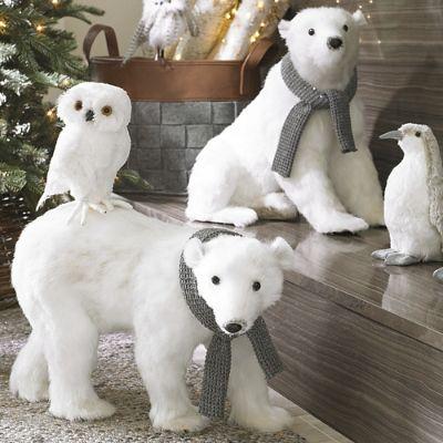 Sitting Polar Bear With Scarf Grandin Road