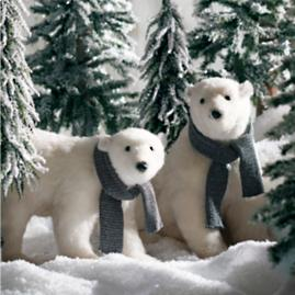 Walking Polar Bear with Scarf |