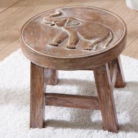 Elephant Petite Wooden Footstool