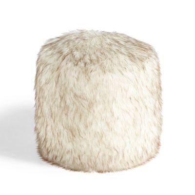 Round Fur Ottoman