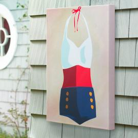 """Nautical"" Retro Swimsuit Outdoor Wall Art"