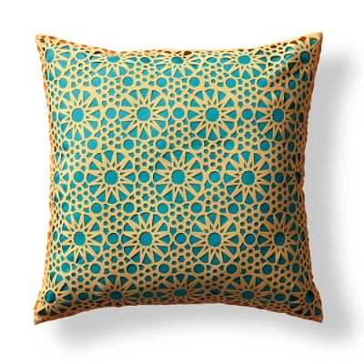 Medina Laser Cut Outdoor Pillow in Yellow/Turquoise