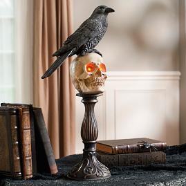 Skull Raven Sitting Pedestal