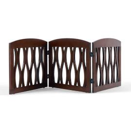 Wavy Wood Three Panel Pet Gate