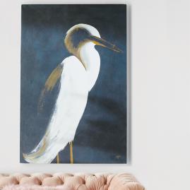 White Heron Wall Art