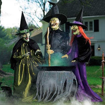 animated brewing witch trio - Grandin Road Halloween