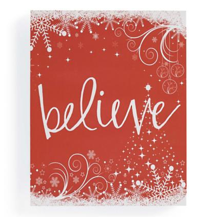 u0026quot;Believeu0026quot; Christmas Canvas : Grandin Road