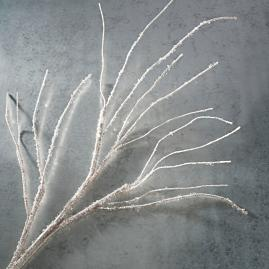 White Crystal Glitter Branches, Set of Three