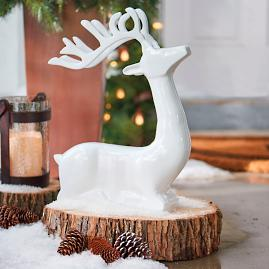 White Cast-aluminum Sitting Deer