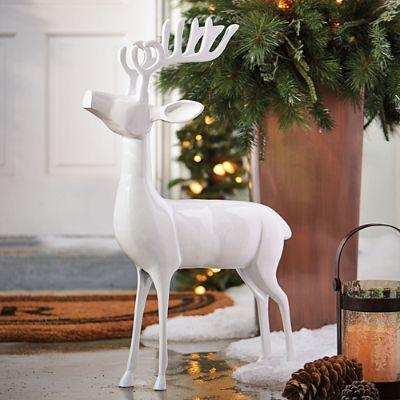 White Cast Aluminum Standing Deer Grandin Road