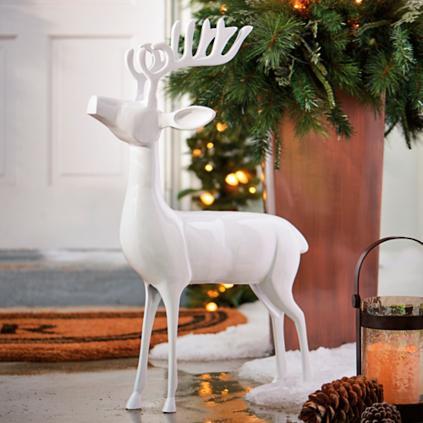 White Cast-aluminum Standing Deer - Grandin Road
