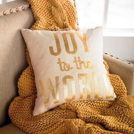 """Embellished Script """"Joy to the World"""" Pillow"""