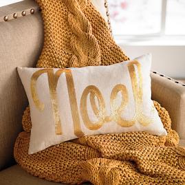 """Embellished Script """"Noel"""" Pillow"""