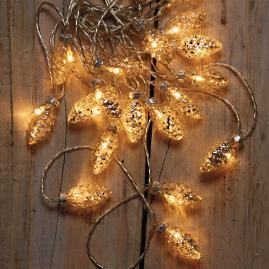 Mercury Glass Pinecone Lights