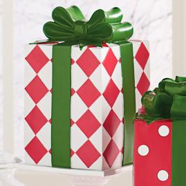 Red/White Harlequin Patterned Present