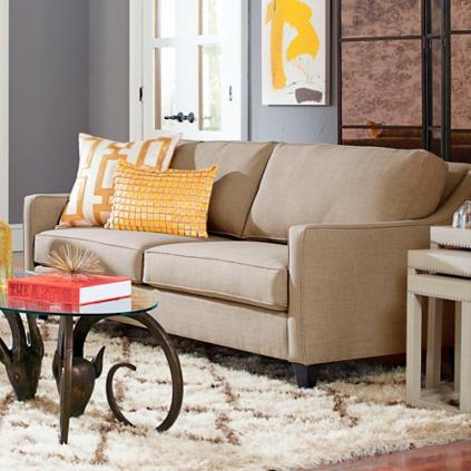 charlotte sofa in almond - Grandin Road Catalog