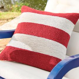 Red Striped Throw Pillow