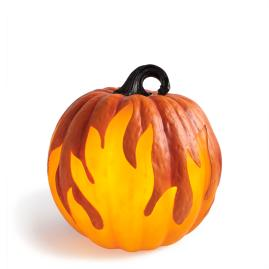 "Flame Lighted 10"" Pumpkin"