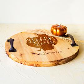 """Personalized """"Gobble"""" Wood Tray"""