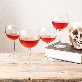 Halloween Personalized Red Wine Glasses, Set of Four