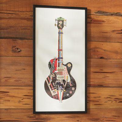 Vintage Guitar Paper Collage Artwork Grandin Road