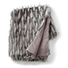 Pheasant Feather Faux Fur Throw 50x70
