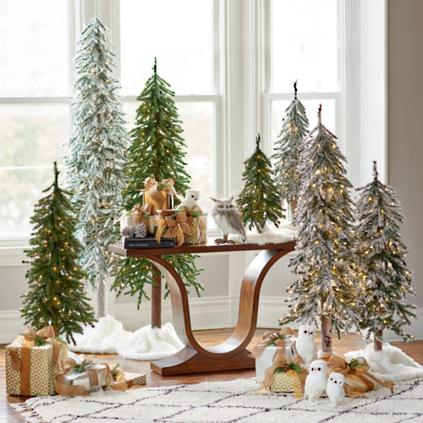 prelit flocked alpine tree set of three - Prelit Christmas Tree