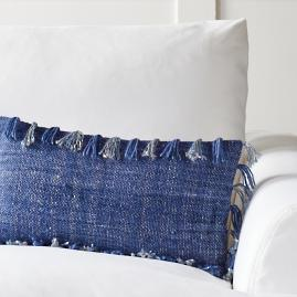 Solid Fringed Lumbar Pillow