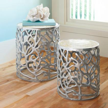 Coral Mother Of Pearl Tables Set Of Two Grandin Road