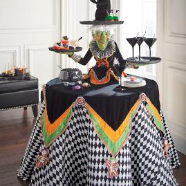 Witch Tabletop Server with Harlequin Tablecloth