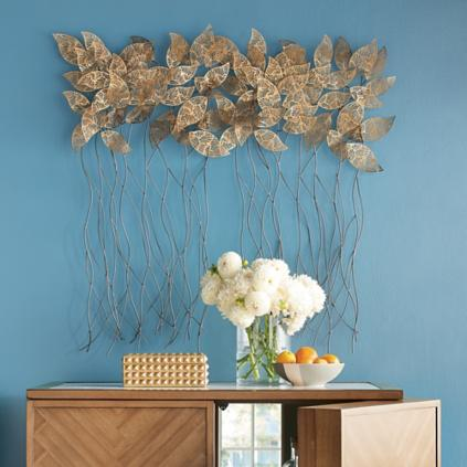 Gold Metal Wall Decor gold leaves metal wall decor | grandin road