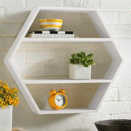 Hexagon Wood Shelf