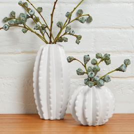 Ceramic Cactus Vases, Set of Two