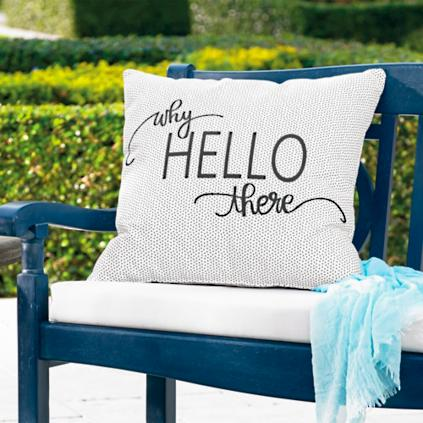 why hello there outdoor pillow - Grandin Road Catalog