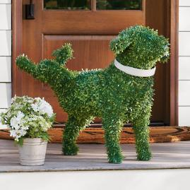 Peabody Faux Boxwood Garden Dog