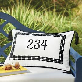 Emery Monogrammed Outdoor Lumbar Pillow