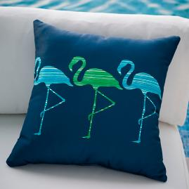 Bay Breeze Dancing Flamingos Outdoor Pillow