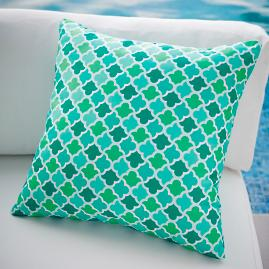 Bay Breeze Dancing Tile Outdoor Pillow