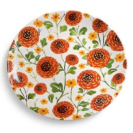 Fall Floral Dinner Platess, Set of Four
