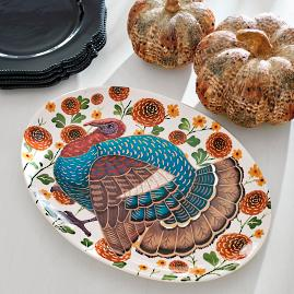 Fall Floral Turkey Platter