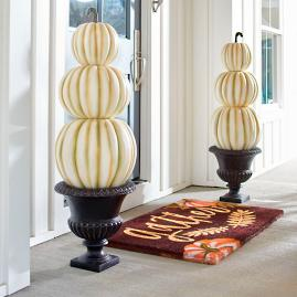 3-Stack Ivory Pumpkin Topiary